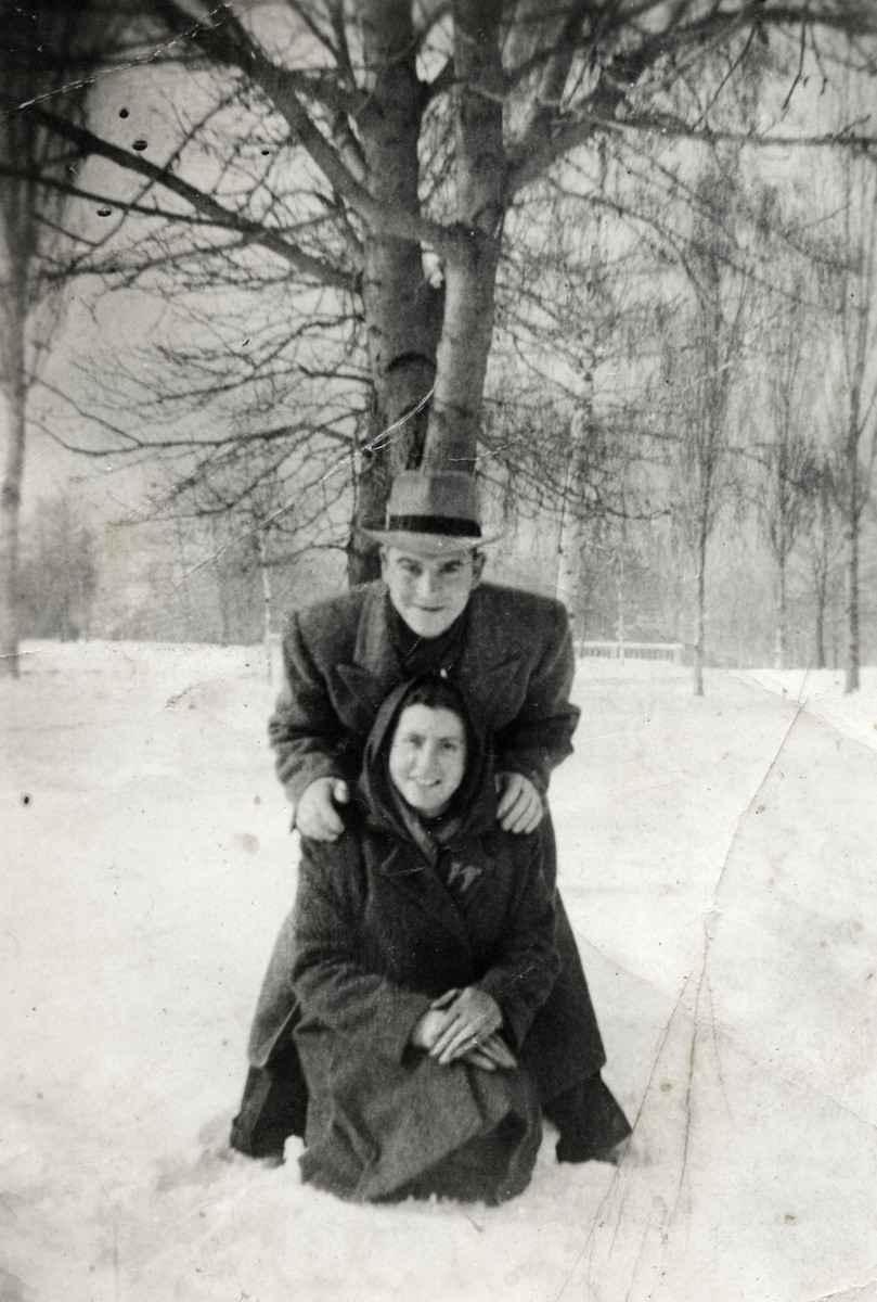 Joseph Dekalo and Dora Levy pose in the snow prior to leaving Bulgaria for Palestine.