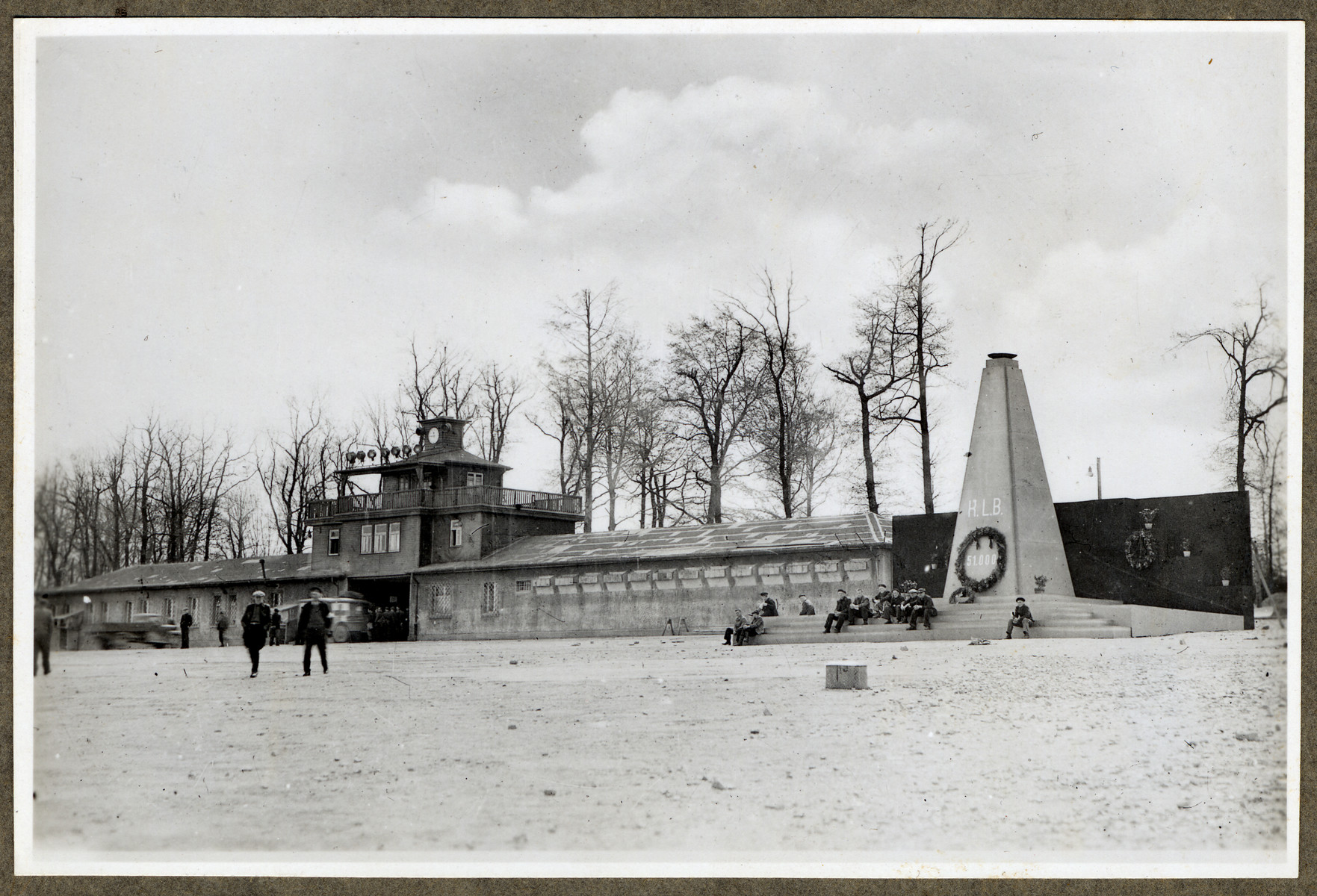 View of the entrance to the Buchenwald concentration camp including the memorial to the victims erected by American troops.