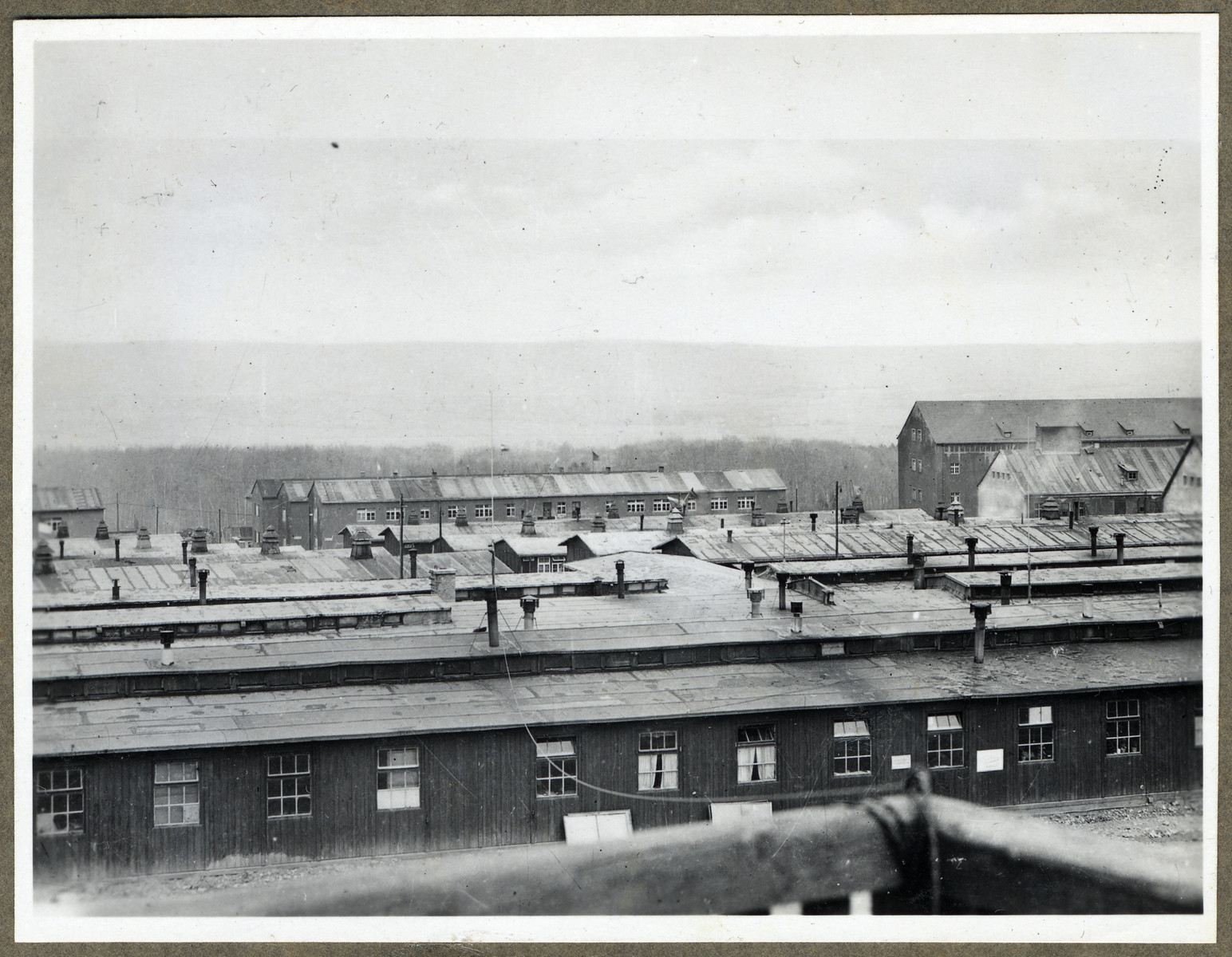 View of the barracks in the Buchenwald concentration camp.