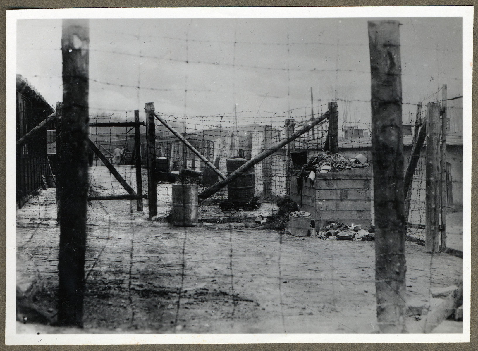 View of the barbed wire fence surrounding the Buchenwald concentration camp.