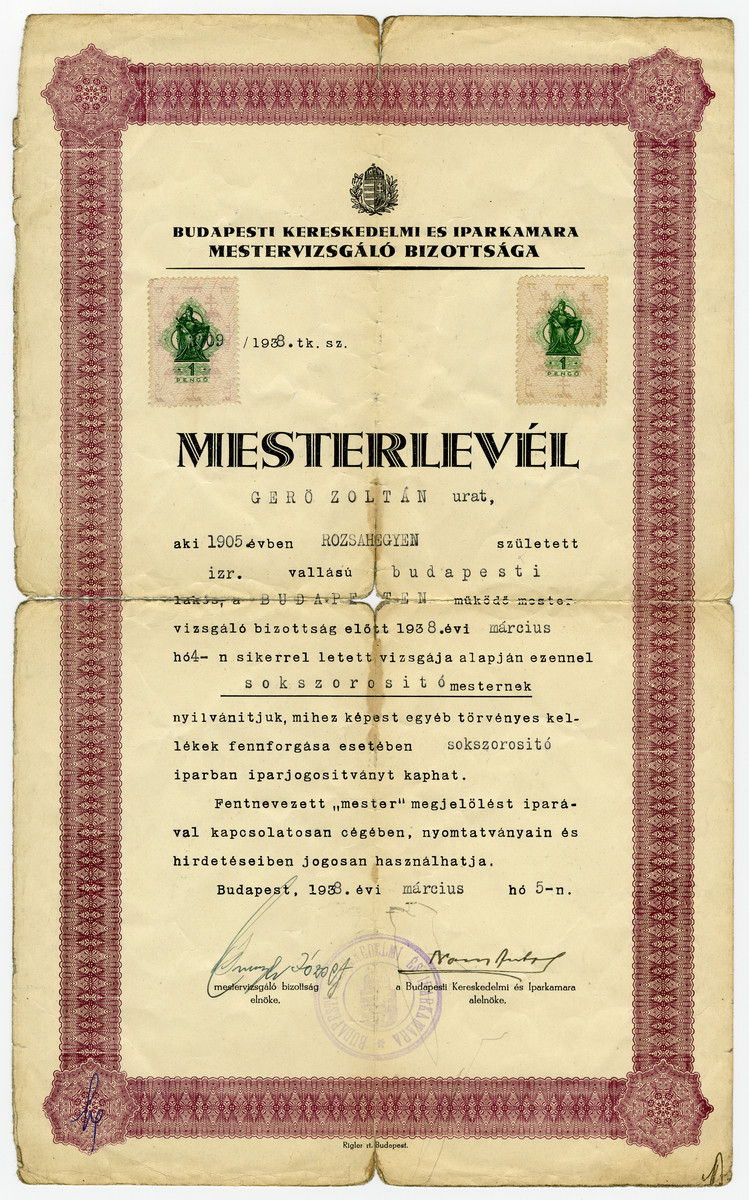 Document certifying that Zoltan Gero qualified as a master printer.