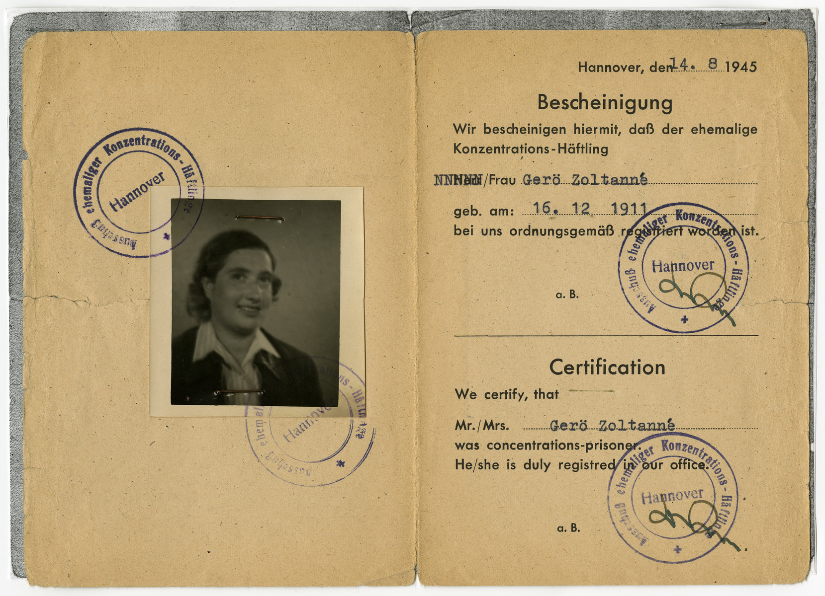 Identification card issued to Johanna Gero stating that she had been a concentration camp prisoner.