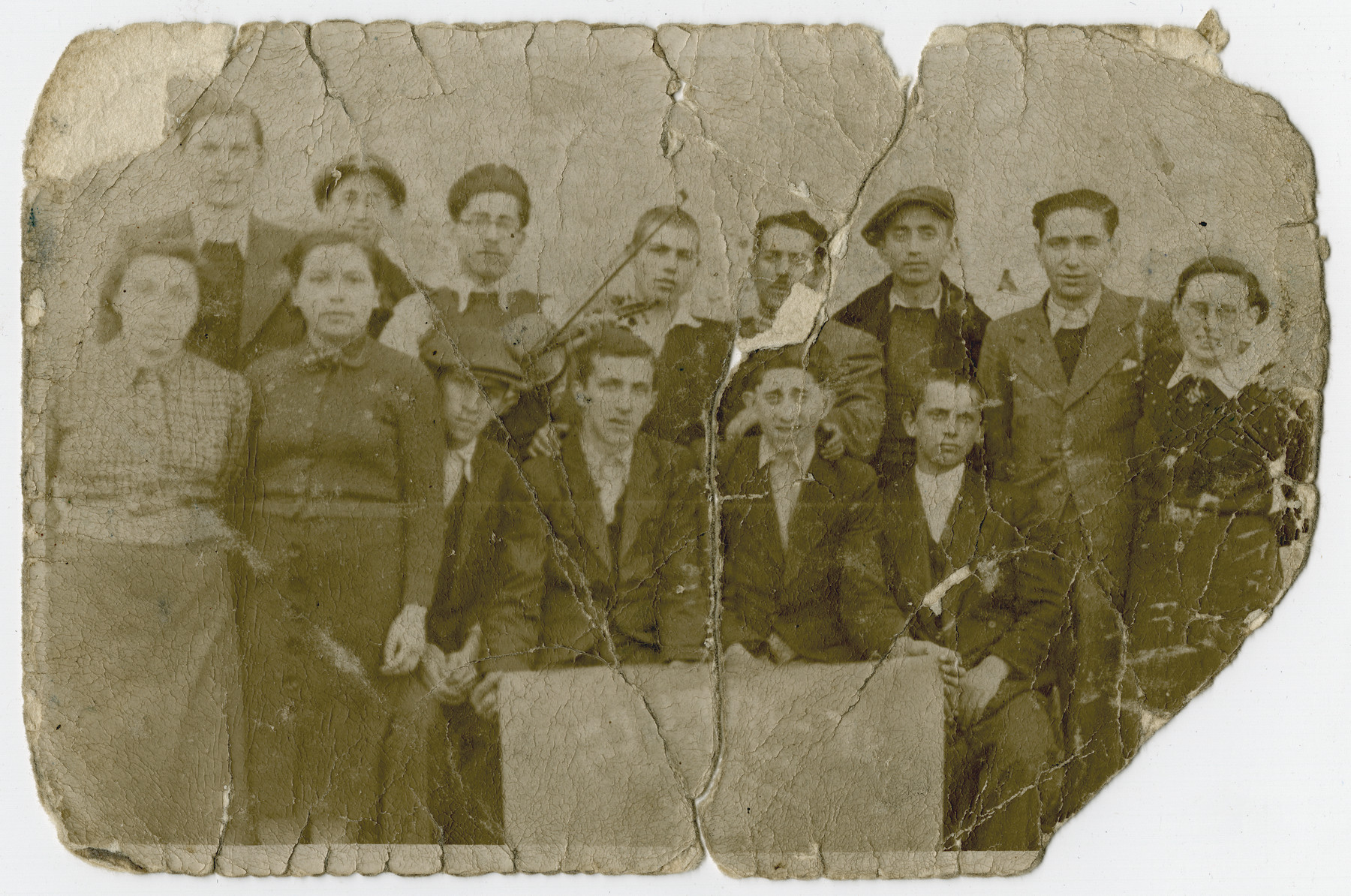 Group portrait of young Zionists in Hungary.    Israel Fried is pictured in the second row, third from the left.