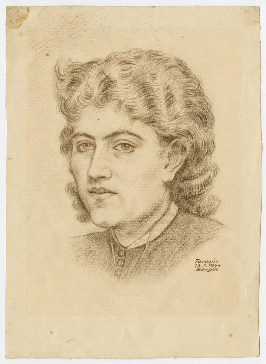 Portrait drawing in pencil of a young woman, Trudy (Gertrude)Blau at 19, in Theresienstadt, by the artist Alfred Bergel.