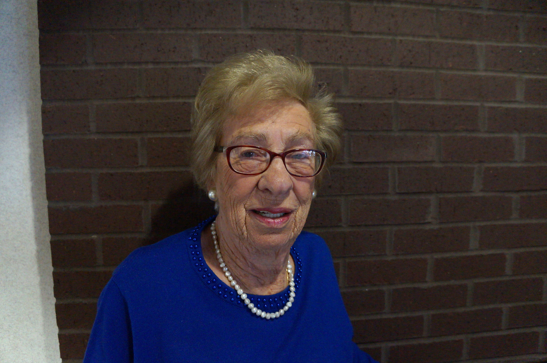 Close-up portrait of Eva Schloss at Viterbo University in La Crosse, WI.