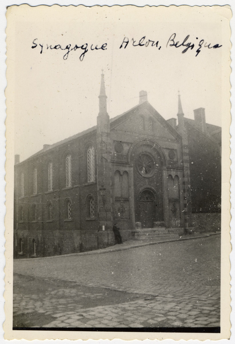 Exterior view of the synagogue in Arlon, Belgium.