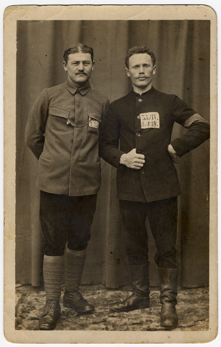 Studio portrait of two World War I POWs shortly after their release  Zalman Bereshkovsky is pictured on the right   He immigrated to the United States but had to return to Europe in 1918 and later perished in the Holocaust.