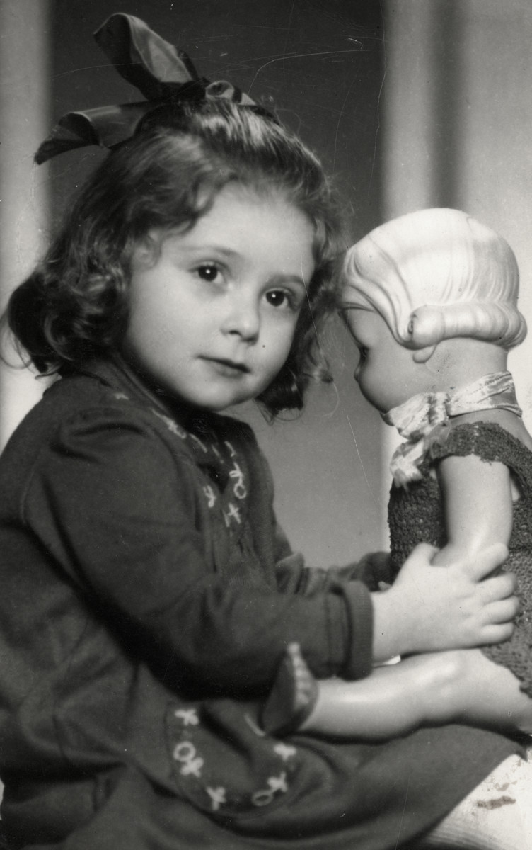 Studio portrait of Gerta Eckstein after she left her rescuers and reunited with her parents.