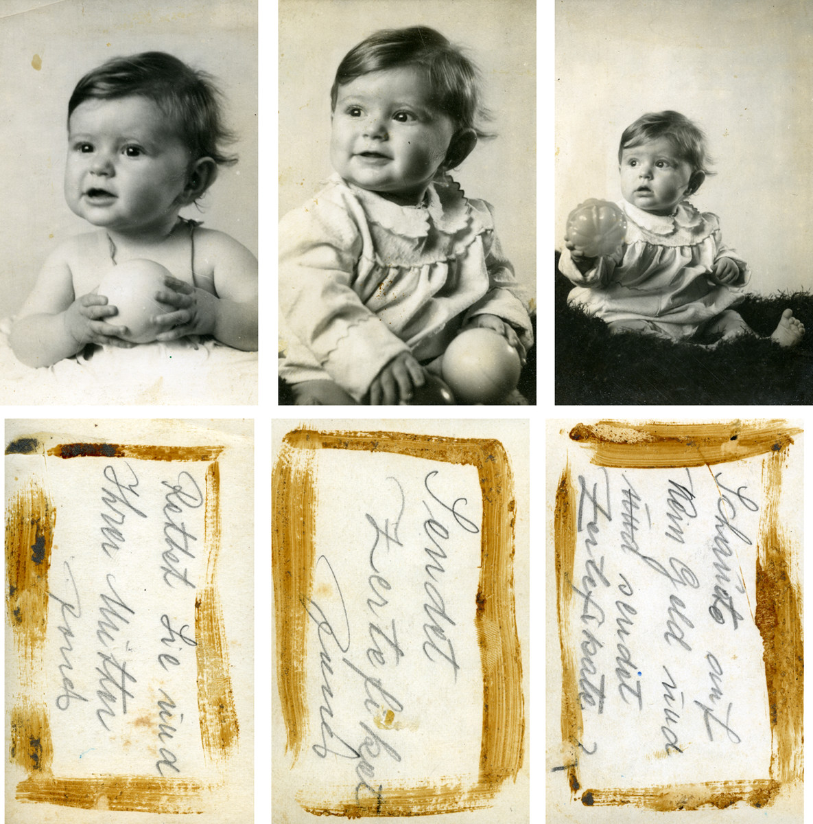 Studio portraits of baby Gerta Eckstein which were made to send to relatives in Palestine.  Underneath each picture is a note her father wrote begging someone to save her life by sending certificates.