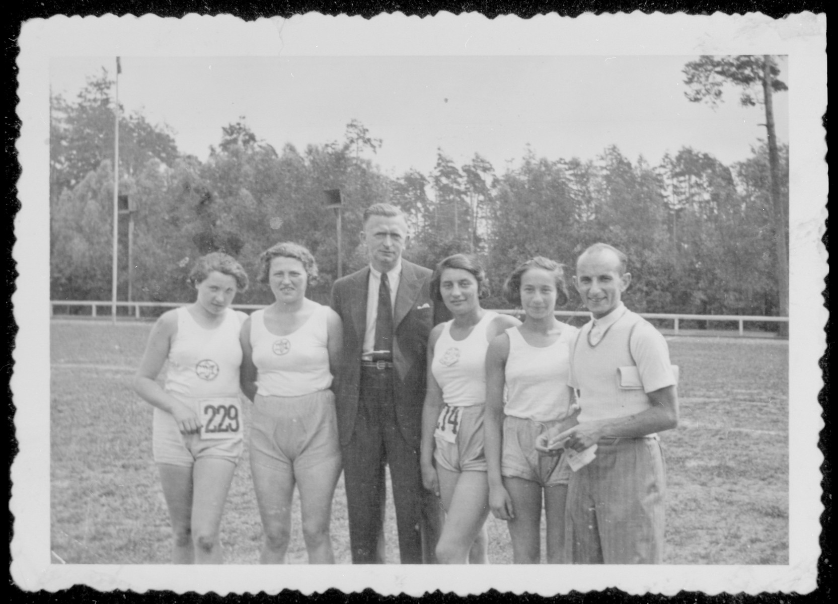 Group portrait of members of the women's Maccabi team of Bialystok.  Liza Grochowska is pictured third from the right.