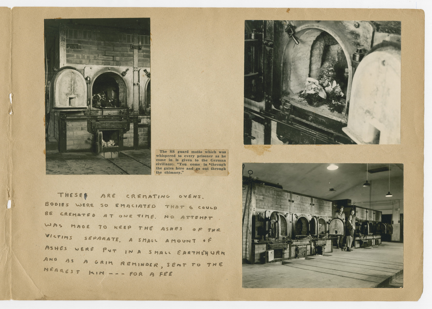 """Photographs of crematoria pasted into a photograph album titled """"Buchenwald/or a Glance at German """"Kultur"""""""" by Murray Bucher."""