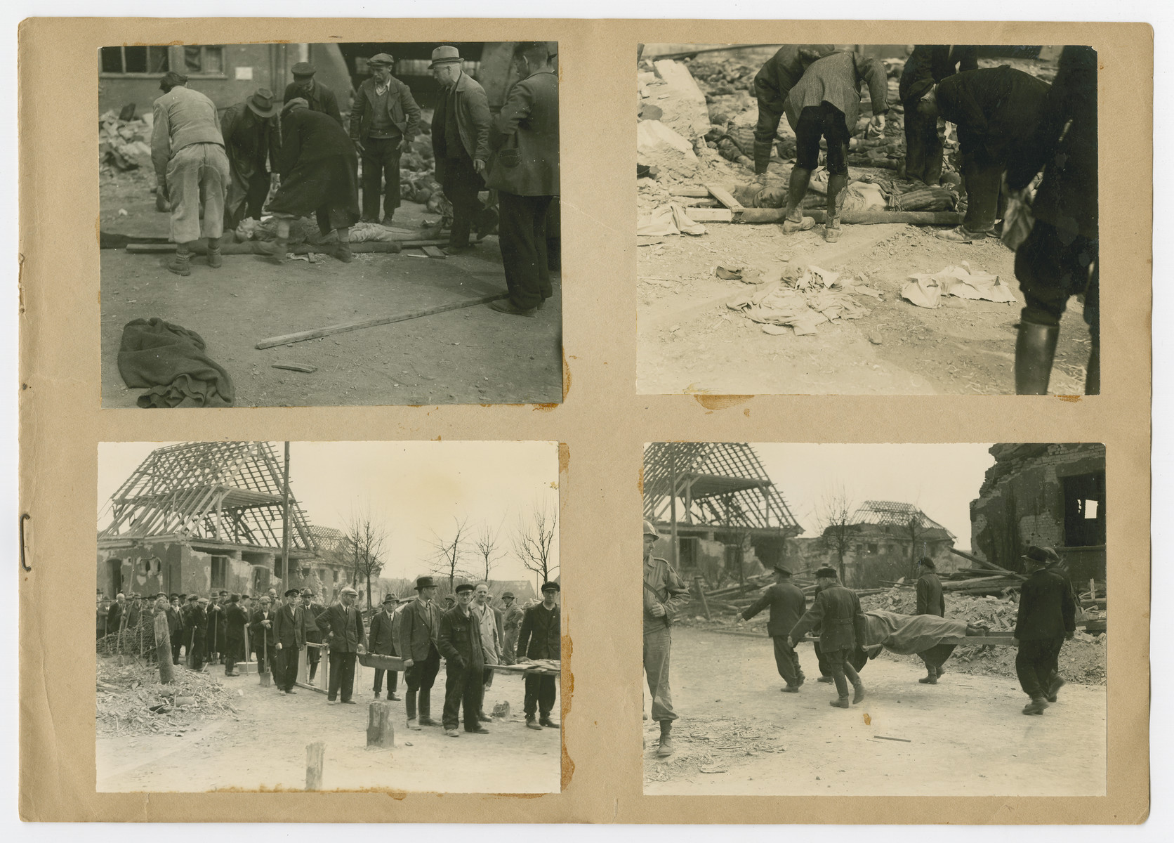 "Photographs of German civilians burying corpses pasted into a photograph album titled ""Buchenwald/or a Glance at German ""Kultur"""" by Murray Bucher."