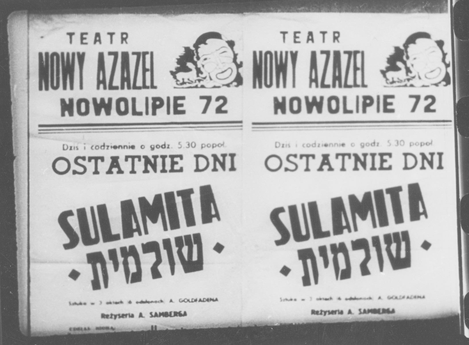 "A poster in the Warsaw ghetto advertises a performance of ""Shulamit"" by A. Goldfaden in the ""Nowy Azazel"" [New Hell] theater."