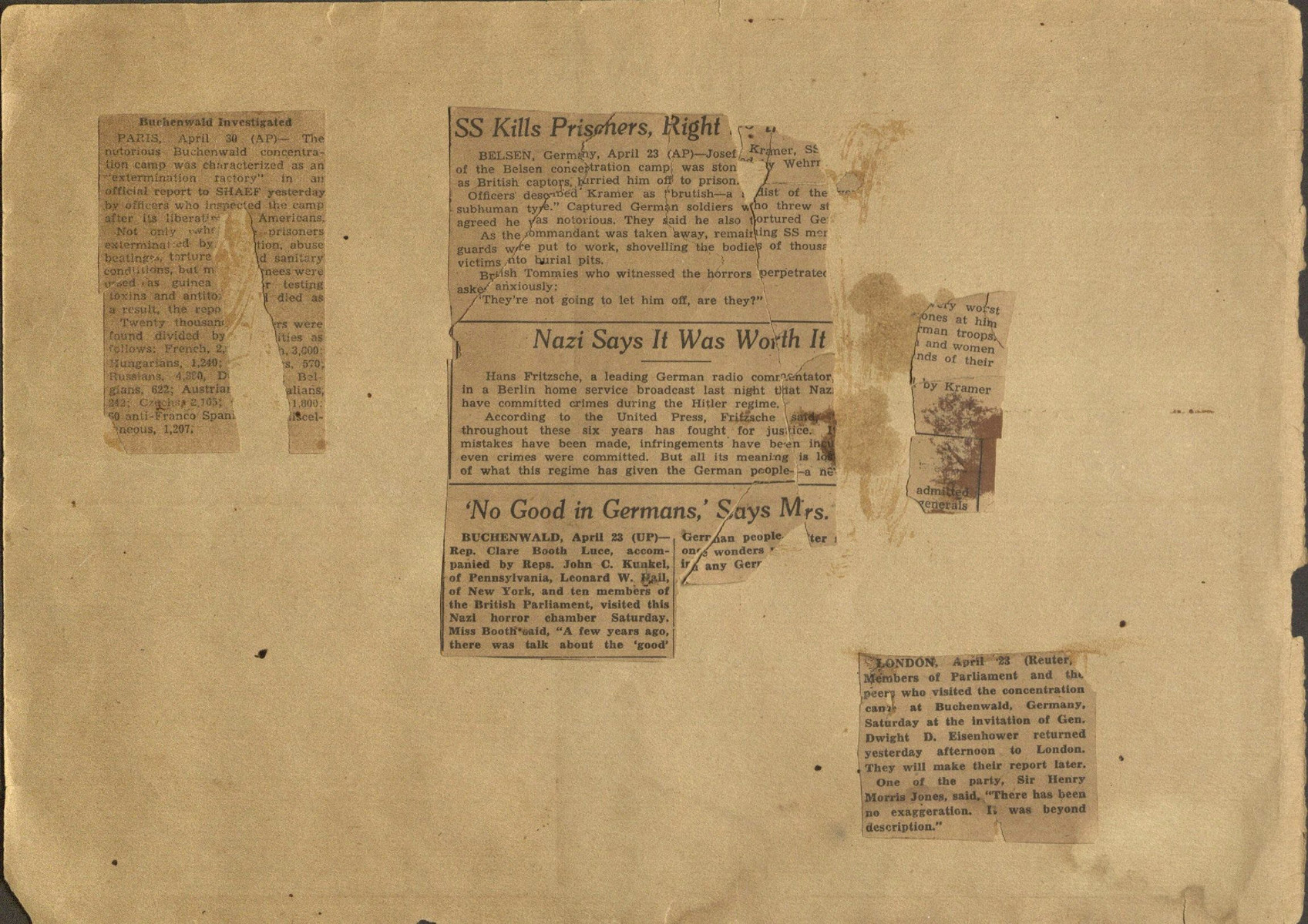 """Newspaper clippings pasted into a photograph album titled """"Buchenwald/or a Glance at German """"Kultur"""""""" by Murray Bucher."""