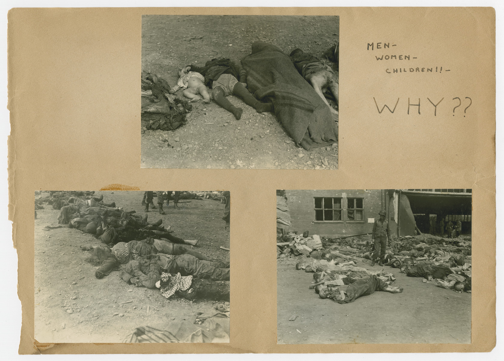 """Photographs of the corpses of men, women and children pasted into a photograph album titled """"Buchenwald/or a Glance at German """"Kultur"""""""" by Murray Bucher.  The page is entitled """"Why??"""""""