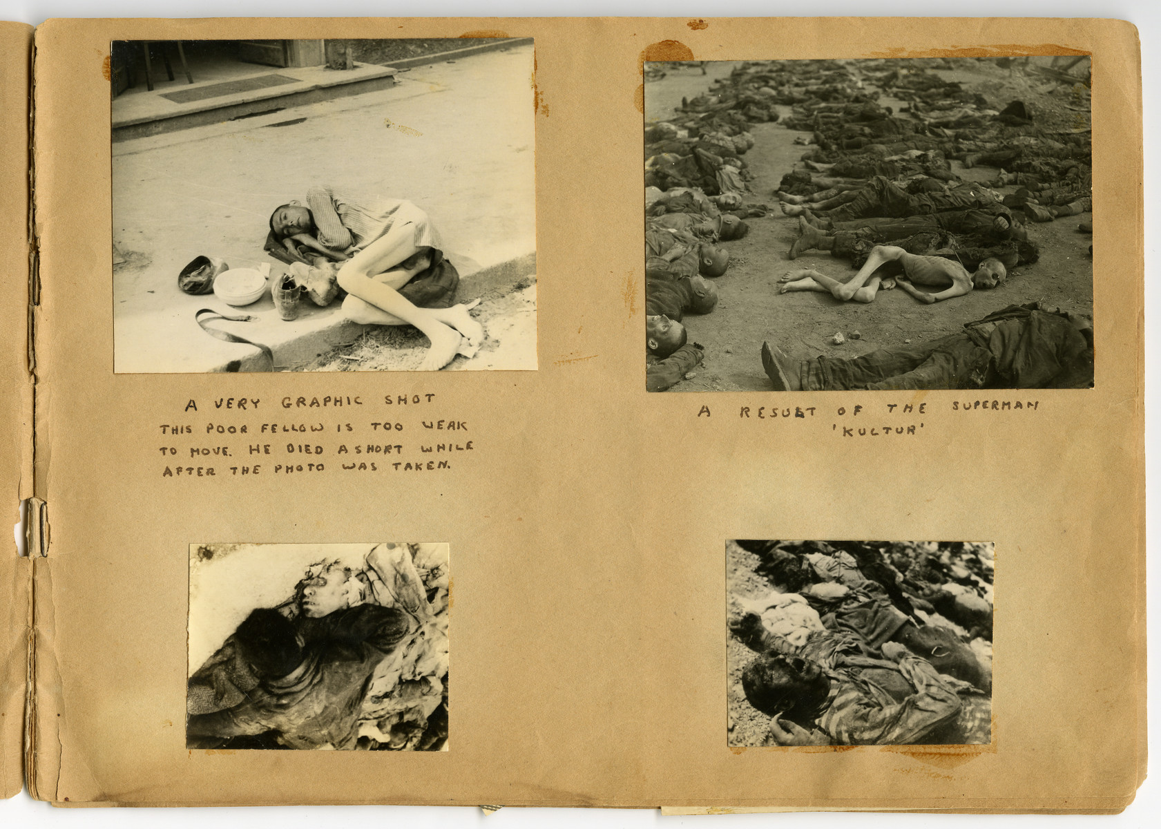 "Photographs of dead and dying prisoners pasted into a photograph album titled ""Buchenwald/or a Glance at German ""Kultur"""" by Murray Bucher."