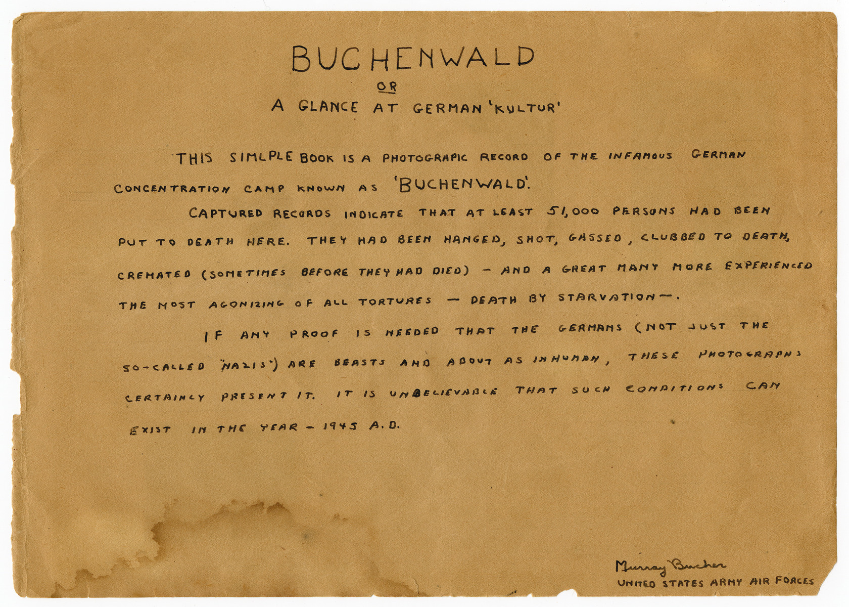 "First page of a photograph album titled ""Buchenwald/or a Glance at German ""Kultur"""" by Murray Bucher."