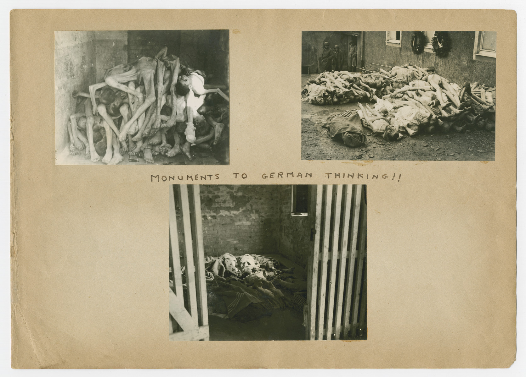"""Pictures of corpses pasted into a photograph album titled """"Buchenwald/or a Glance at German """"Kultur"""""""" by Murray Bucher.  The page is entitled """"Monuments to German Thinking!!"""""""