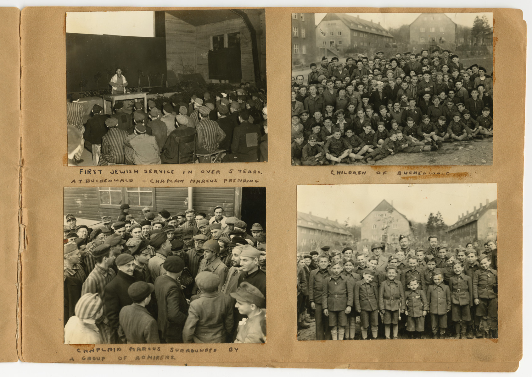 "Photographs of child survivors, Rabbi Marcus leading Jewish services, and meeting with survivors pasted into a photograph album titled ""Buchenwald/or a Glance at German ""Kultur"""" by Murray Bucher."