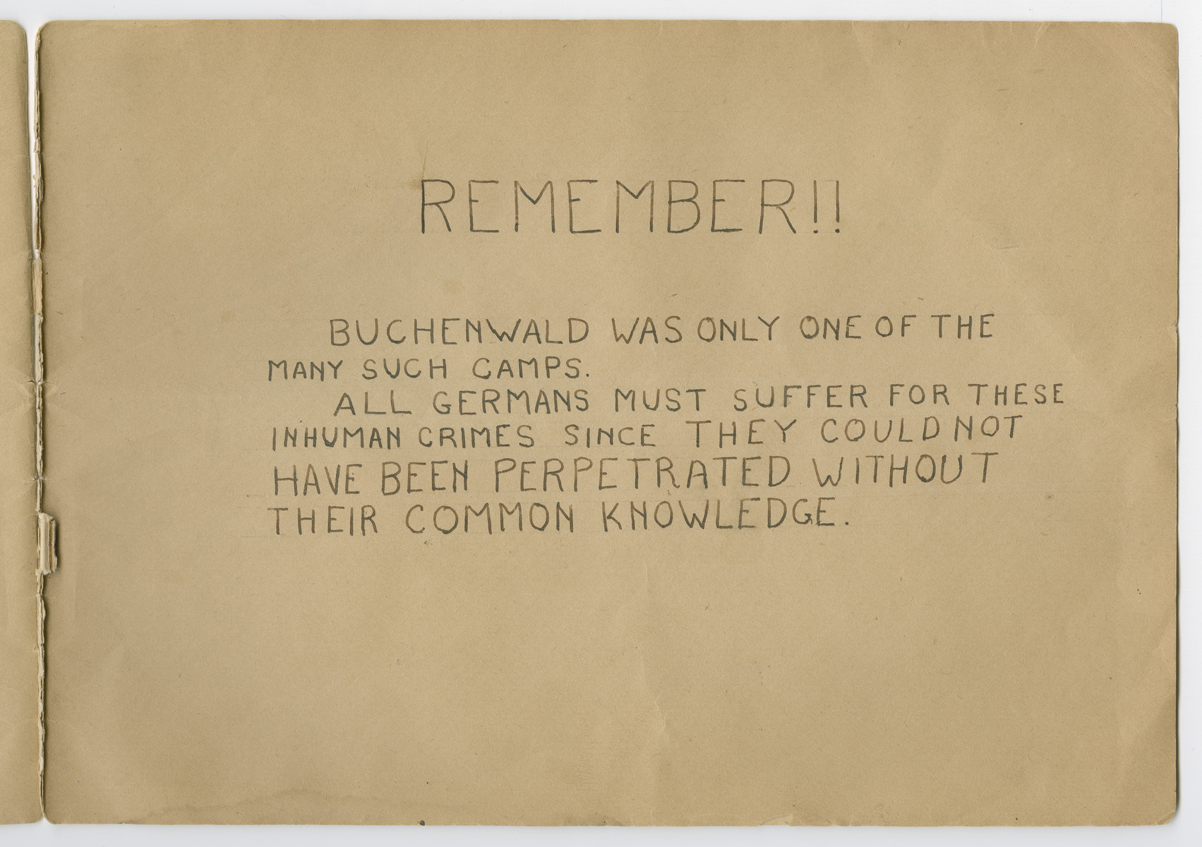 """Concluding page entitled REMEMBER!! of a photograph album titled """"Buchenwald/or a Glance at German """"Kultur"""""""" by Murray Bucher."""