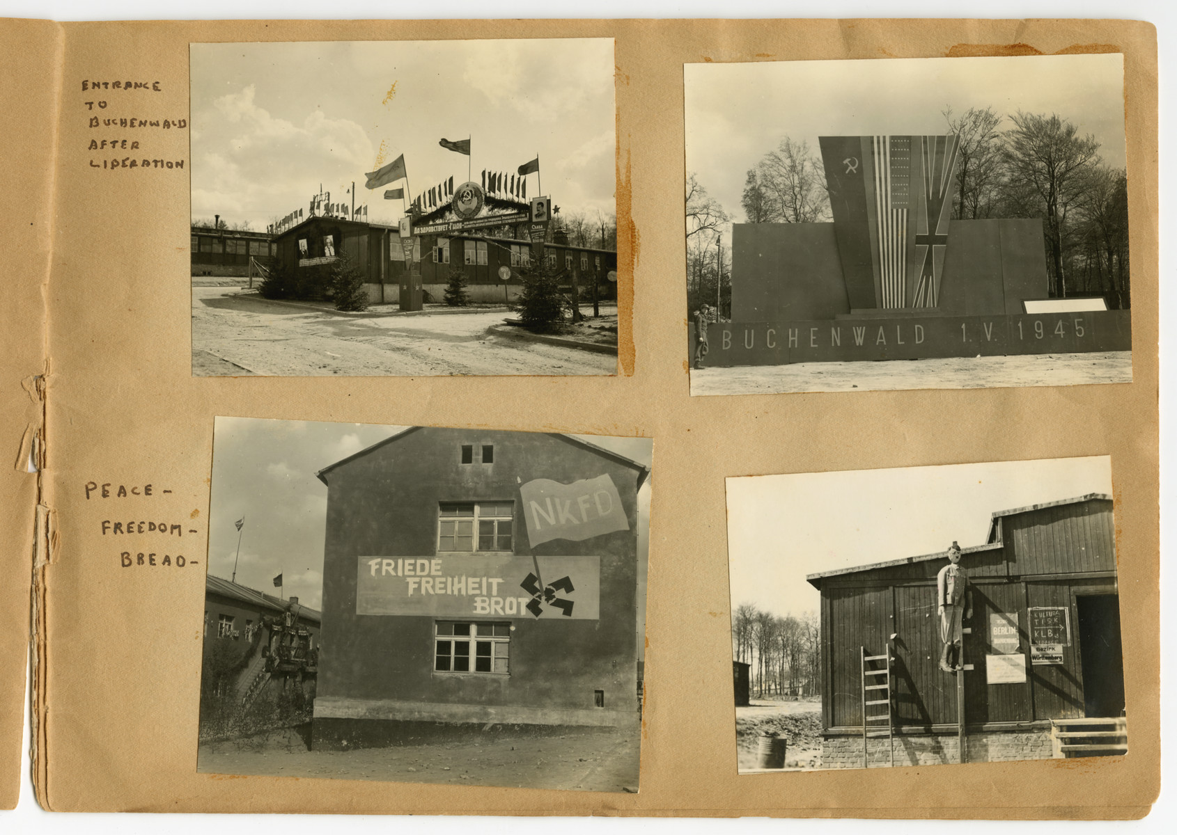 "Postwar views of Buchenwald, one showing an effigy of Hitler hanging, pasted into a photograph album titled ""Buchenwald/or a Glance at German ""Kultur"""" by Murray Bucher."