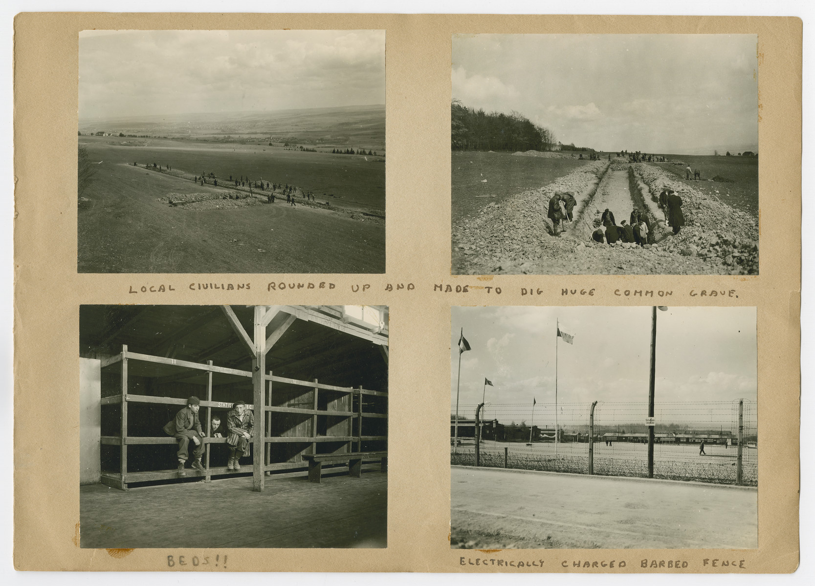 """Photographs of bunks, mass burial and the barbed wire fence pasted into a photograph album titled """"Buchenwald/or a Glance at German """"Kultur"""""""" by Murray Bucher."""