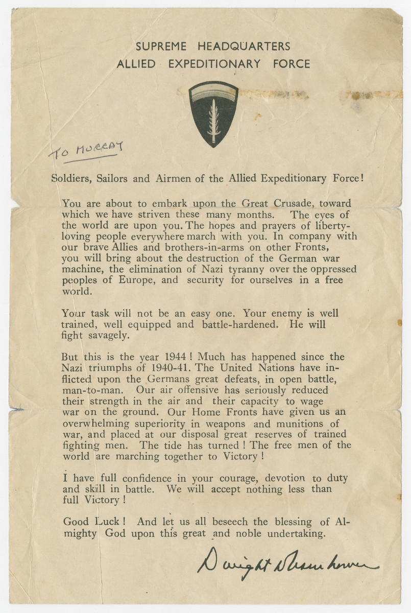 "Letter from Eisenhower announcing American troops are about to embark on a Great Crusade pasted into a photograph album titled ""Buchenwald/or a Glance at German ""Kultur"""" by Murray Bucher."