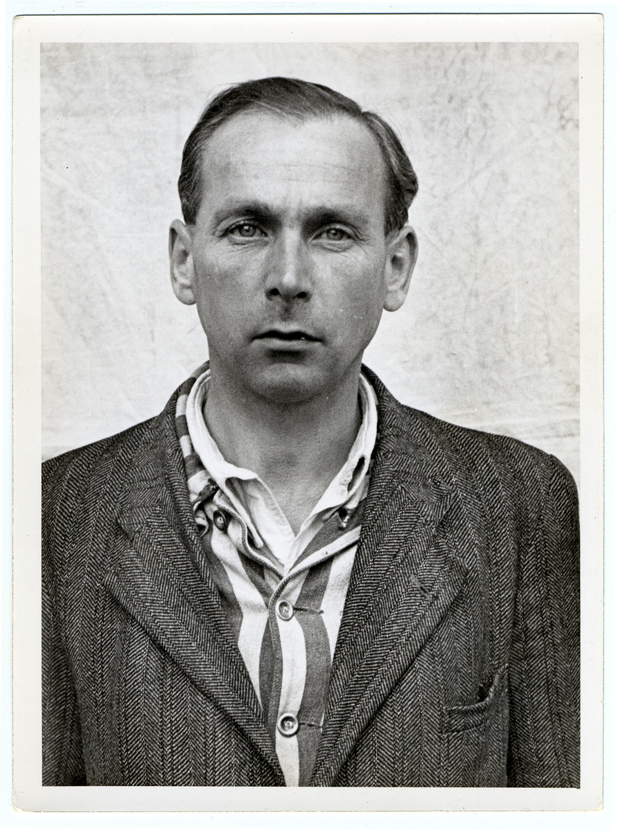 Mug shot of kapo Emil Erwin Mahl stationed at Dachau, who was arrested when the camp was liberated by American forces on April 29, 1945.