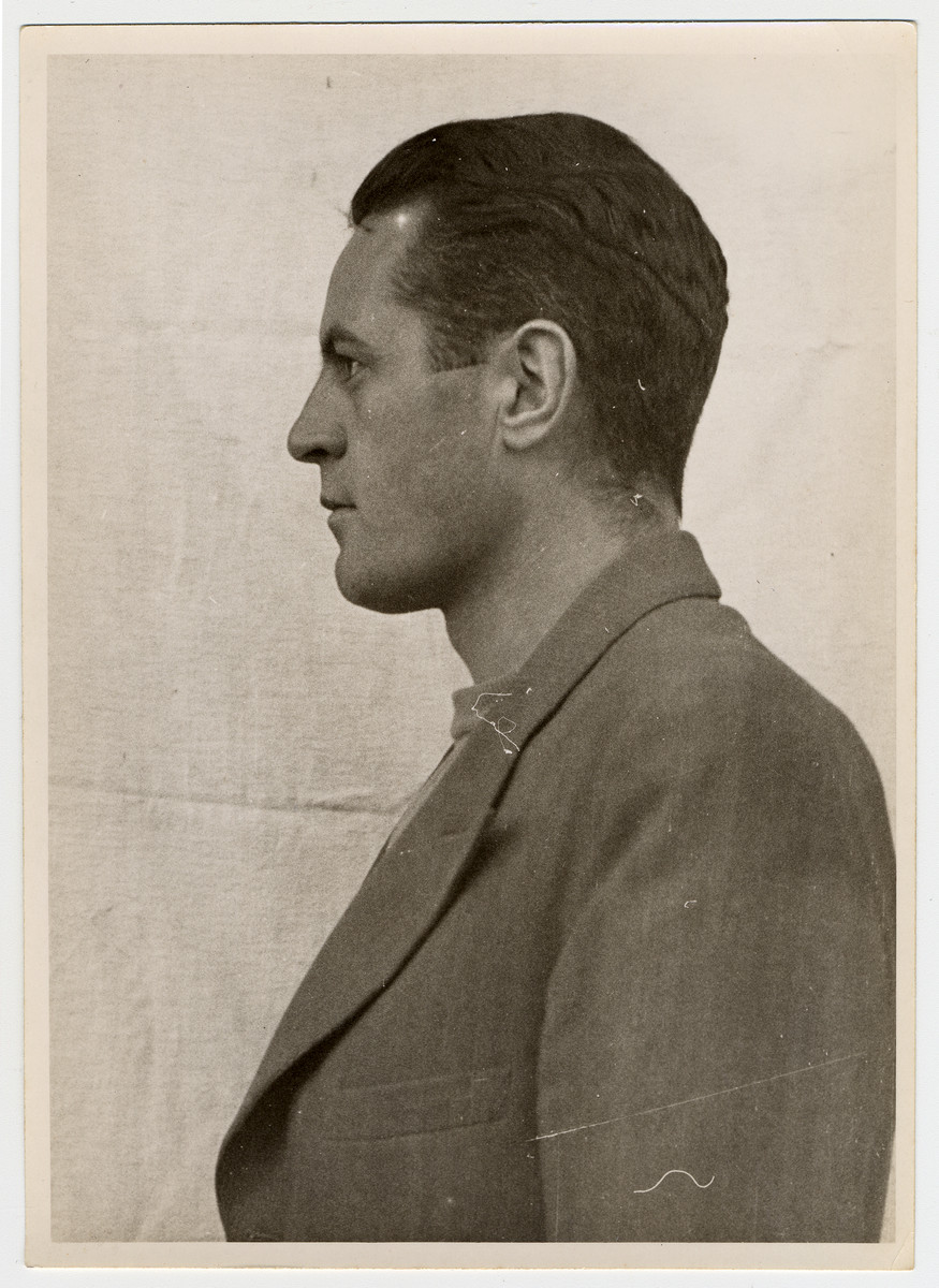 Mug shot of S.S. guard Rudolf Heinrich Suttrop stationed at Dachau, who was arrested when the camp was liberated by American forces on April 29, 1945.