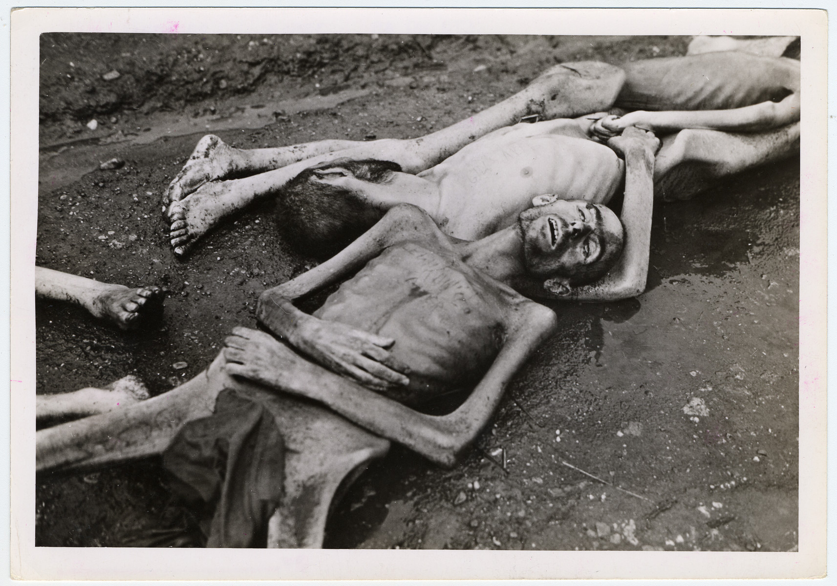"Emaciated body of a prisoner at Landsberg, found by the liberating American 7th Army.  Original caption reads: ""The Landsberg Atrocity: The emaciated bodies of Jewish prisoners bear evidence of the slow death by starvation they were undergoing before having been locked in their wooden huts by retreating Nazi prison guards, who set the huts afire and left. These inmates managed to muster enough strength to break out of their huts but not before they succumbed to the smoke and flames."""