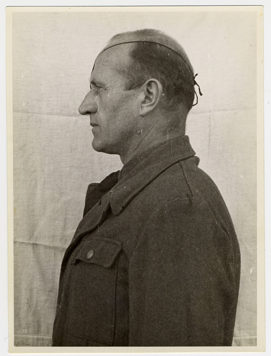 Mug shot of S.S. officer Otto Foerschner stationed at Dachau, who was arrested when the camp was liberated by American forces on April 29, 1945.