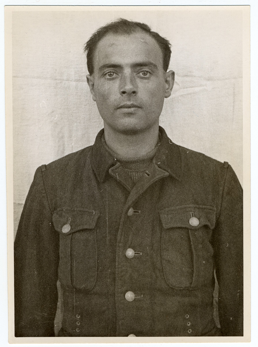 Mug shot of S.S. guard Wilhelm Welter stationed at Dachau, who was arrested when the camp was liberated by American forces on April 29, 1945.