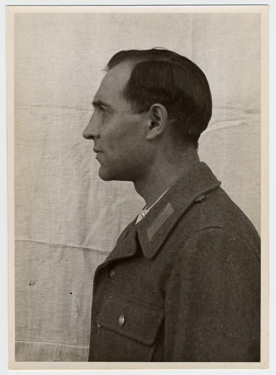 Mug shot of an S.S. officer Engelbert Valentin Niedermeyer stationed at Dachau, who was arrested when the camp was liberated by American forces on April 29, 1945.