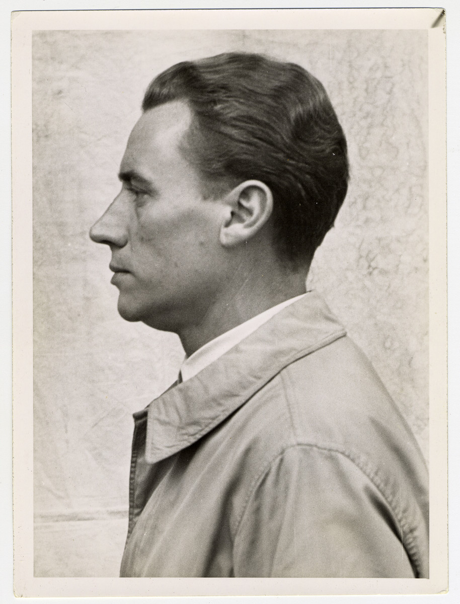 Mug shot of Dr. Wilhelm Witteler stationed at Dachau, who was arrested when the camp was liberated by American forces on April 29, 1945.