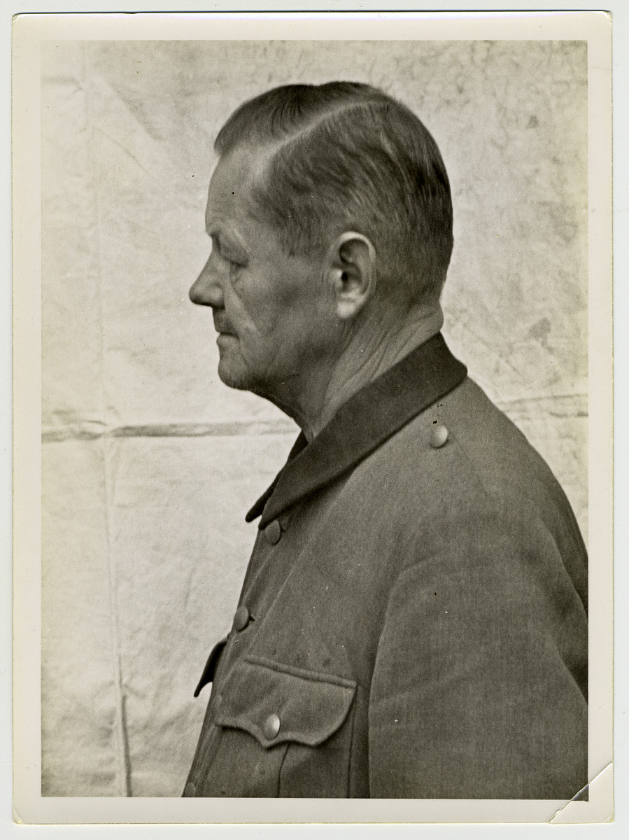 Mug shot of an S.S.officer Arno Lippmann stationed at Dachau, who was arrested when the camp was liberated by American forces on April 29, 1945.