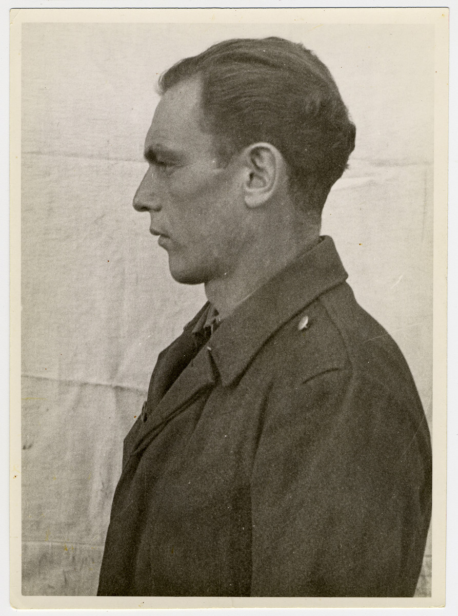 Mug shot of S.S. guard Leonard Anself Eichberger stationed at Dachau, who was arrested when the camp was liberated by American forces on April 29, 1945.