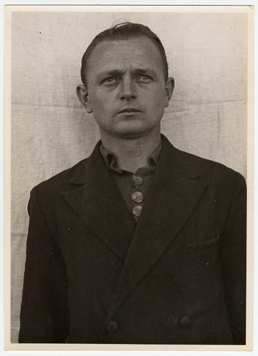 Mug shot of S.S. guard Peter Betz stationed at Dachau, who was arrested when the camp was liberated by American forces on April 29, 1945.
