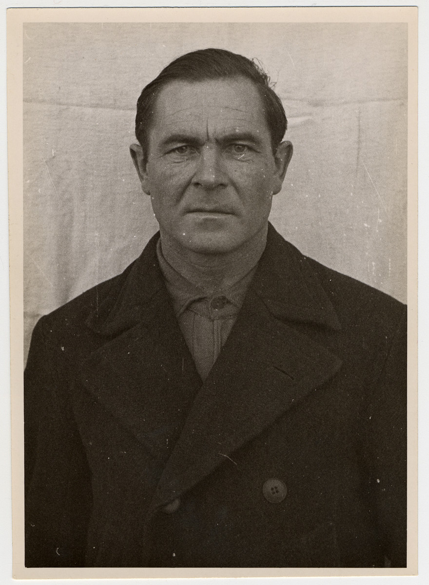 Mug shot of an S.S. guard Sylvester Filleboeck stationed at Dachau, who was arrested by the Americans when they liberated the camp on April 29, 1945.