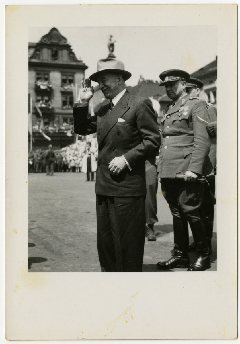 President of Czechoslovakia, Evard Benes, offers a salute in Pilsen, Czechoslovakia on liberation day.