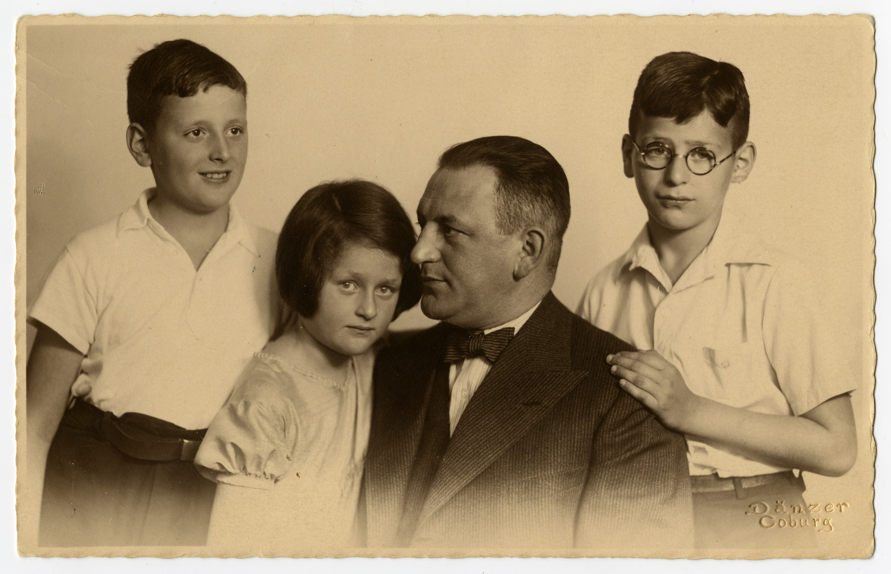 Studio portrait of the Forchheimer family in Coburg, Germany.  From left to right are Peter, Anne, Emil and Franz Forchheimer.