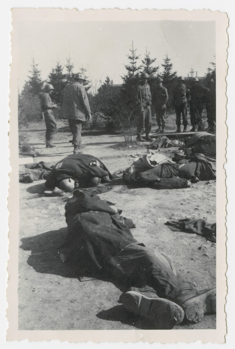 American soldiers look at corpses lying in an open field in the Ohrdruf concentration camp.