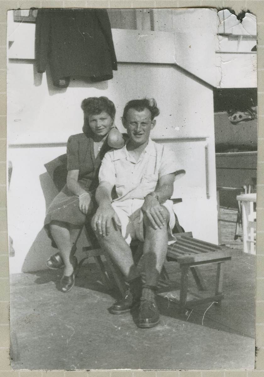 Hanna and Salo Bratman sit on a deck chair on the Marine Flasher while en route to the United States.