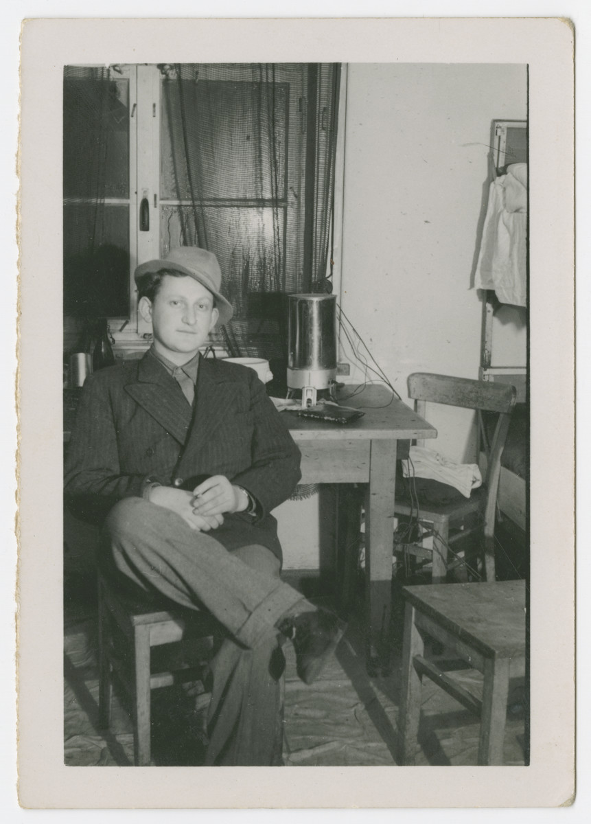 Ben Rosenzweig sits in his apartment in the Bergen-Belsen displaced persons camp.
