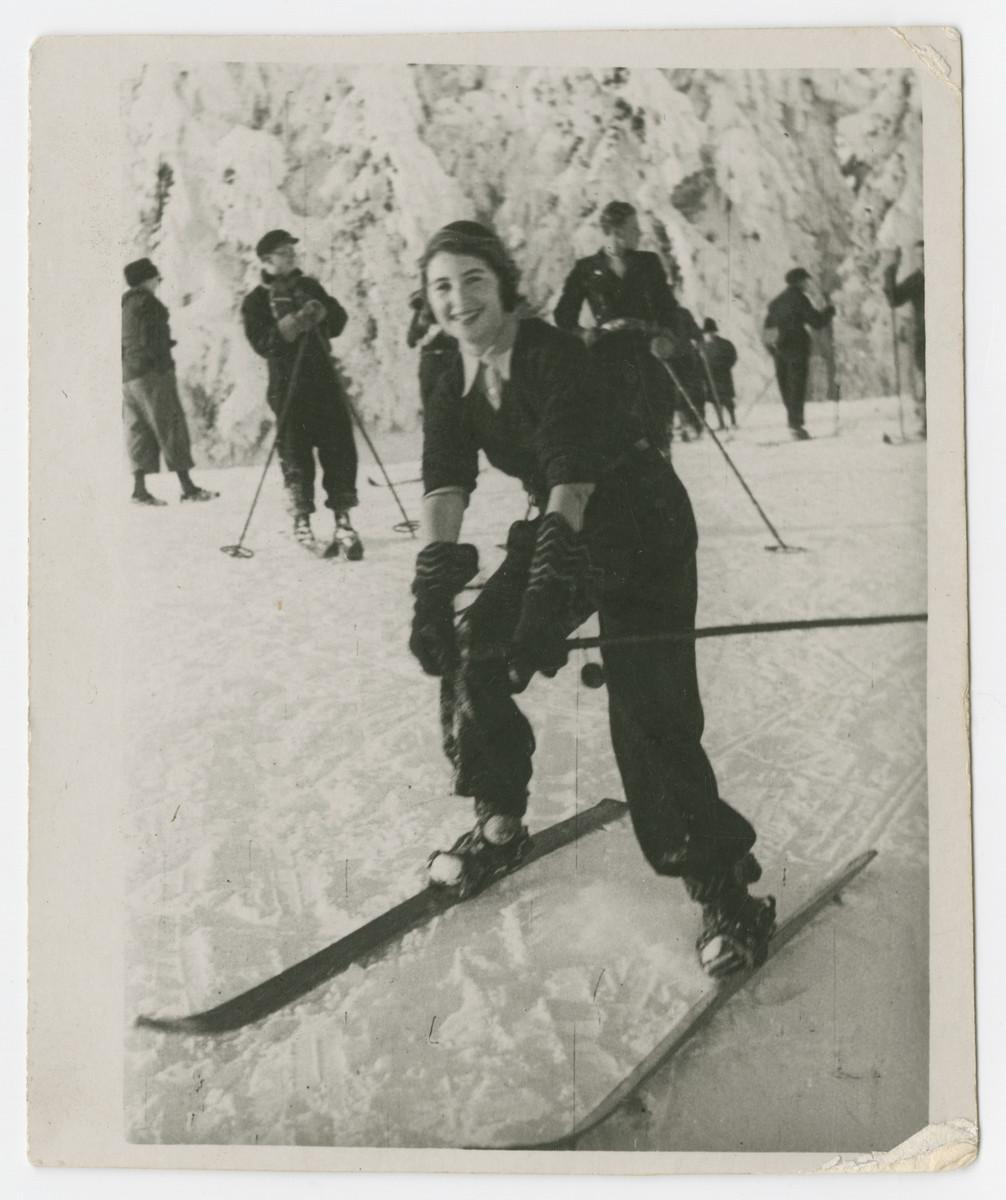 Greta Deligdisch goes skiing in either prewar Romania or Switzerland.