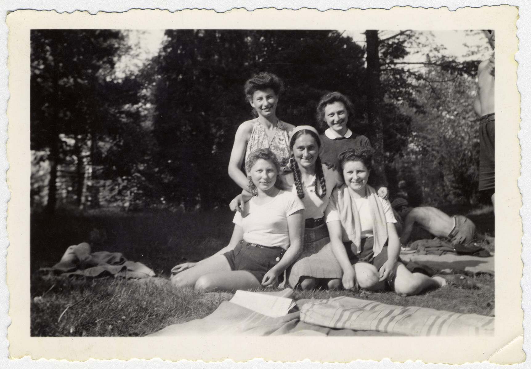 Group portrait of five teenage girls in the La Ramee agricultural school.  The school was established after Jewish students were expelled from general schools  and directed by Haroun Tazieff.