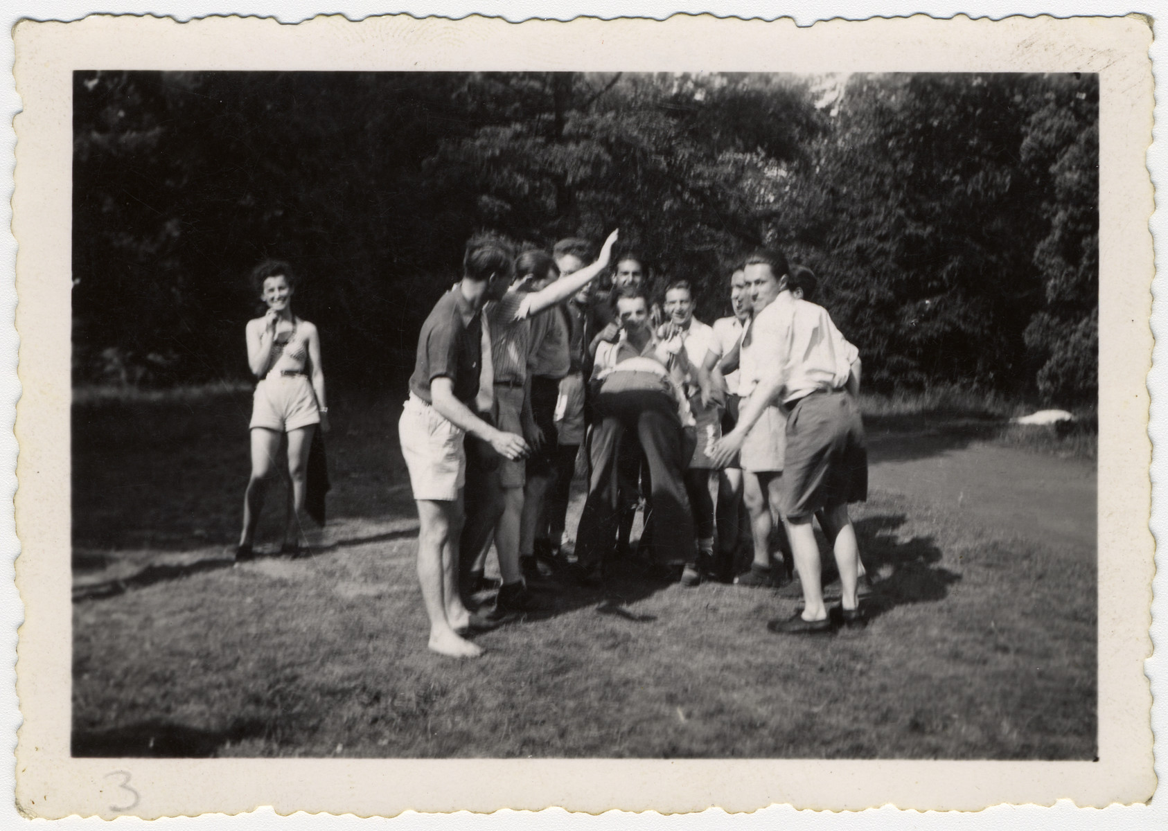 Jewish youth play on the grounds of the La Ramee agricultural school.    The school was established after Jewish students were expelled from general schools  and directed by Haroun Tazieff.
