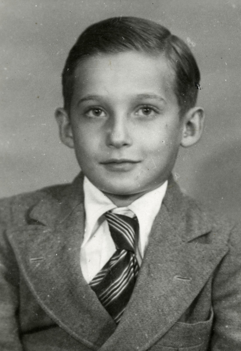 Studio portrait of Izio Rosenmann, one of the Buchenwald Boys.