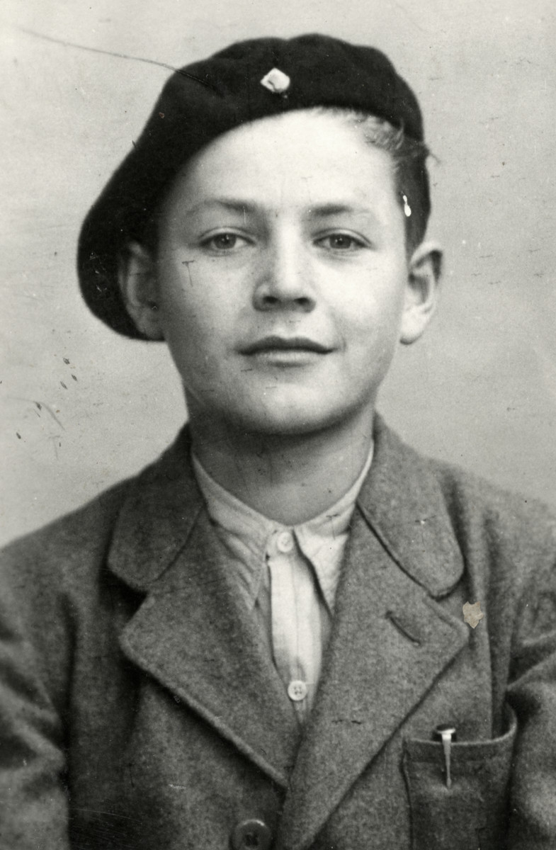Studio portrait of Alex Kormen, one of the Buchenwald Boys.    Alex later became a policman in Israel.