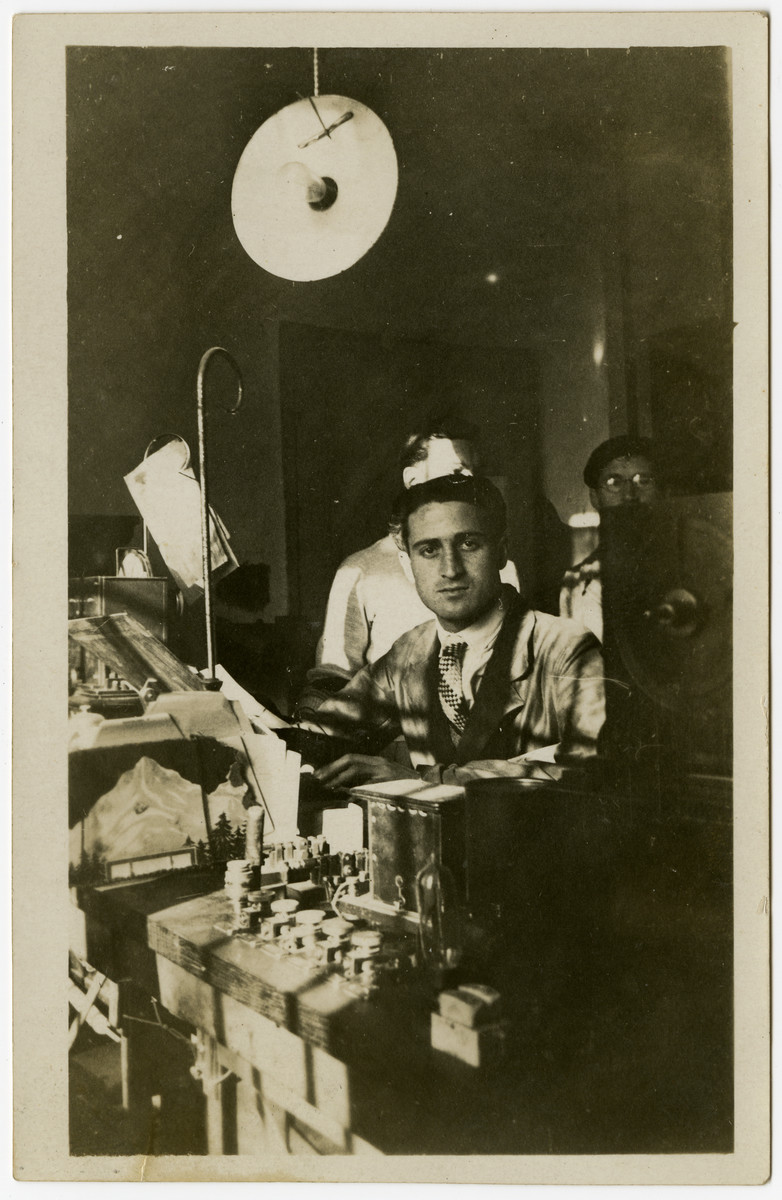 Albert Benichou, a French Jew from Algeria, operates a telegraph machine called a Baudot, while serving in the French Army's Postal Service in Tunis.