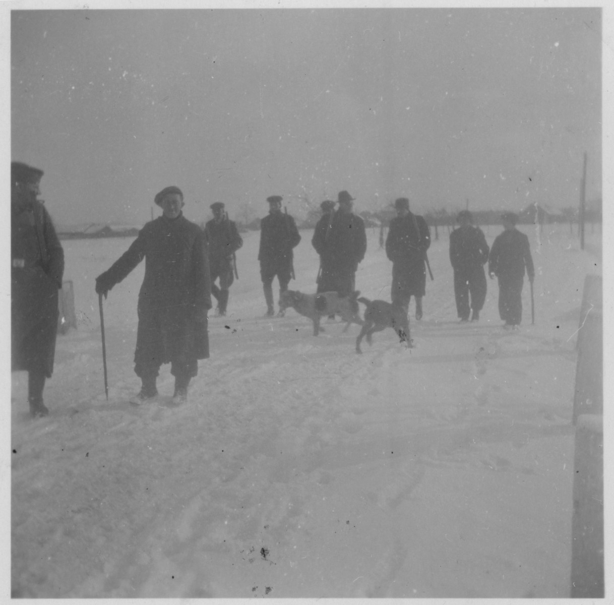 SS guard Anton SSchmeiler and other staff of the Lipa labor camp go on a winter hunting trip.